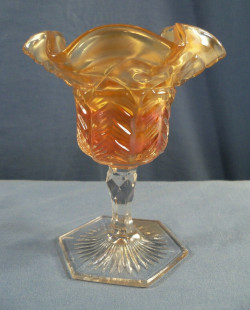 Carnival Glass Cambridge Inverted Feather Marigold Compote