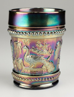 Carnival Glass Dugan Peacock at the Fountain Tumbler