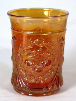 Carnival Glass Dugan Wreathed Cherry Marigold Tumbler