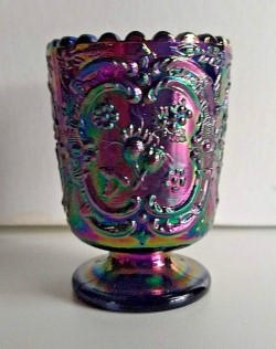 Carnival Glass Fenton Wild Strawberry Amethyst Toothpick Holder