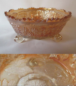 Carnival Glass Fenton Panther Marigold Berry Bowl