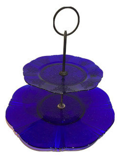 Depression Glass MacBeth Evans American Sweetheart Blue Two Tiered Tid-Bit Server