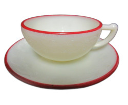 Depression Glass McKee Laurel Ivory with Red Rim Child's Cup and Saucer