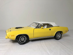 Franklin Mint 1970 Plymouth Hemi Cuda Convertible Limited Edition Yellow Die Cast Car
