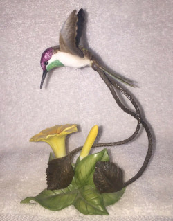 Franklin Mint Alan Singer Hummingbirds Racquet Tailed Cocquette Figurine