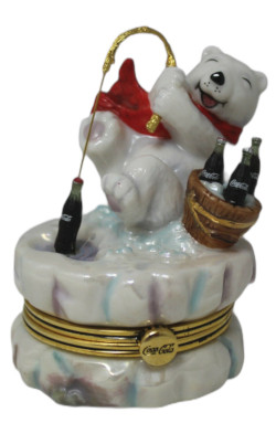 Franklin Mint Coca-Cola Polar Bears Fishing for Refreshment Porcelain Collectors Box